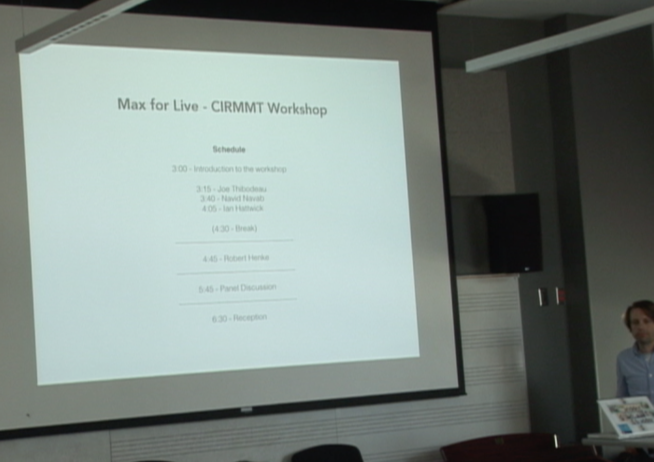 Opening slide from max4live workshop at CIRMMT.