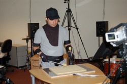 Percussionist playing the Radio Baton.