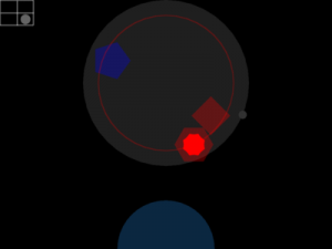 Dragging a node around (the red hexagon) displays visual feedback about the associated audio track's volume and low-pass cuto frequency, looping being disabled due to the node being outside the looping zone of the stovetop. The visual feedback showing that the node is not looping at 1, 2, 4, or 8 beats, is that no crosshair is visible in the cooking pot.